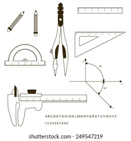 Set of drafting instrument: pencil, ruler, protractor, compass, triangle, beam caliper, angle, axis.