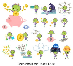 A set of Dragon boy with concerning money and economy.It's vector art so it's easy to edit.