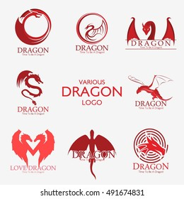 Set of Dragon logo, Business card Elements for Brand Identity,Vector template.