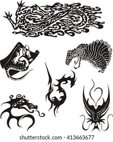 Set of dragon tattoos. Black and white vector illustrations.
