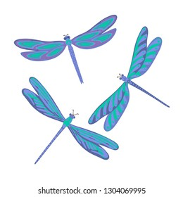 Set of dragonfly, isolated illustration, flying dragonfly. Vector illustration.