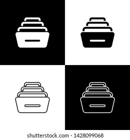 Set Drawer with documents icon isolated on black and white background. Archive papers drawer. File Cabinet Drawer. Office furniture.  Vector Illustration