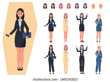 Set for drawing business lady in different poses. Confident business lady in various poses. Create your own design. Flat style illustration.
