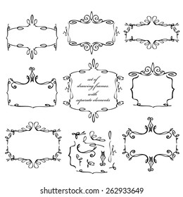 set of drawing frames. with separate elements. background vector