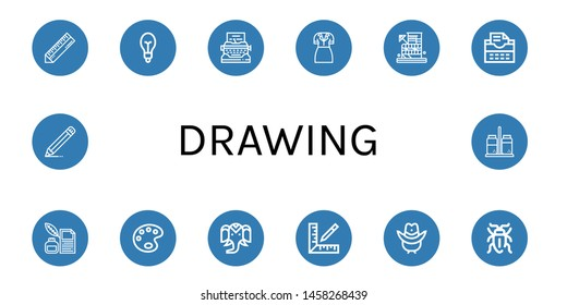 Set of drawing icons such as Ruler, Light bulb, Typewriter, Dress, Waterpark, Quill, Paint palette, Wild life, Cowboy hat, Sap beetle, Pencil, Salt and pepper , drawing