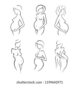 Set Drawing linear beautiful pregnant girl. Gynecological medicine stock illustration. Silhouettes of women Graphic vector icon