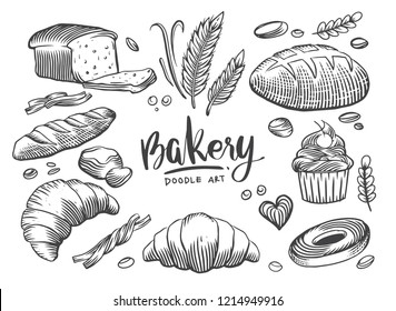 Set of drawings bakery theme. cakes, pies, Bread and pastry collection. Bread house. vector black and white sketch illustration isolated on white background