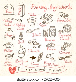 Set drawings of baking ingredients for design menus, recipes. Vector Illustration.