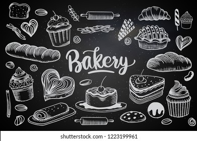 Set of drawings breads and bakery theme. cakes, pies, Bread and pastry collection. Bread house. vector black and white sketch illustration isolated on white background