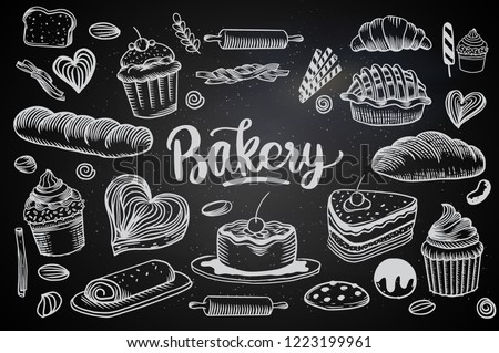 Set Drawings Breads Bakery Theme Cakes Stock Vektorgrafik