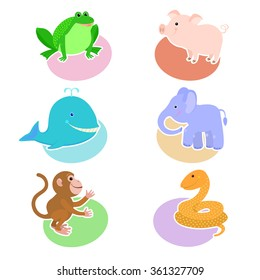 A set of drawings with cartoon animals on the background of ovals of different colors: frog, pig, whale, elephant, monkey, snake. Icon, avatar, sticker.