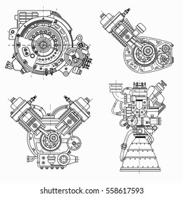 Engine blueprint stock images royalty free images vectors a set of drawings of engines motor vehicle internal combustion engine motorcycle electric malvernweather Images