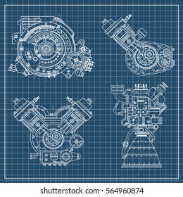 A set of drawings of engines - motor vehicle internal combustion engine, motorcycle, electric motor and a rocket. It can be used to illustrate ideas of science, engineering design and high-tech