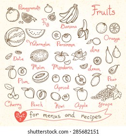 Set drawings of fruit for design menus, recipes and packages product