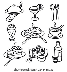 set of drawings icons for restaurant and cafe food and dishes