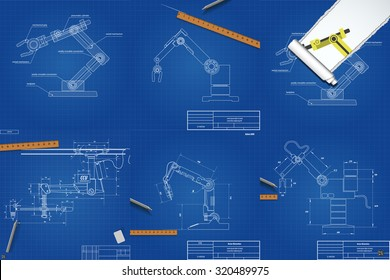 Set of drawings of mechanical robotic arms. Blueprint. Vector eps 10