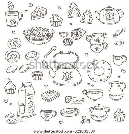 set drawings tea kettle cup sweet stock vector royalty free