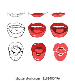 A set of drawings in a vector, a smile on his lips