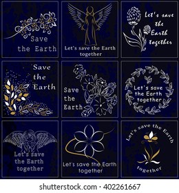 Set drawings in white and gold color, motivating protect planet Earth clean and take care of it. It can be used as logo, posters and stickers or other