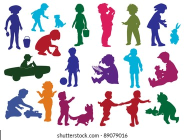 Set of  drawn colored silhouettes of children (kids) and, children play, dance, walk, drink from glass, move on child's car, play with a dog, cry. Vector illustration.