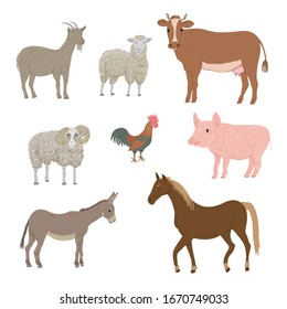 Set of drawn farm animals. Goat, sheep, cow, ram, rooster, pig, donkey and horse vector illustration.