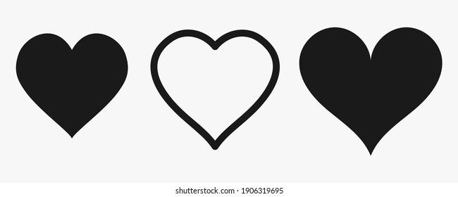 Ein Satz gezeichneter Silhouetten in Form eines Herzens. Symbol der Liebe. Schwarzes Herz Formen. Flacher Stil. Social Networks, Web-Buttons, wie Webdesign. Vektorgrafiken.