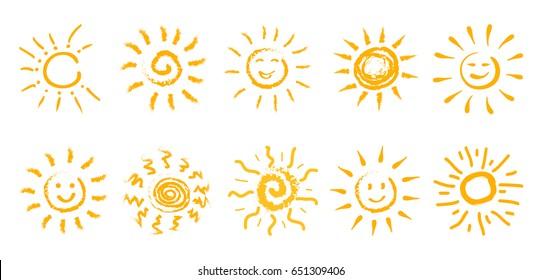 Set of drawn sun icons