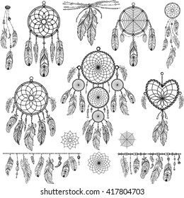 Set of Dreamcatchers. Design elements in Boho style. Lineart. Native style. Tattoo design. Pattern for coloring book. Print for T-shirt.