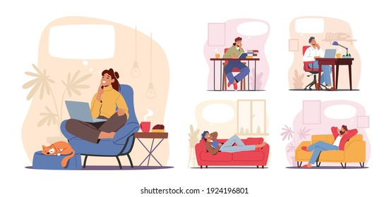 Set of Dreaming Characters, Thoughtful People Smiling, Young Men Women Working in Office, Study and Relax at Home with Dreamy Thought Bubble Isolated on White Background. Cartoon Vector Illustration