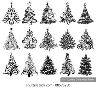 Set of Dreawn Christmas Trees. 15 designs in one file. To see similar sets visit my gallery