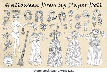 Set of dress up paper doll with Halloween costumes, broom, pot. Hand drawn vector illustration for games, coloring page with body template, haircut and witch clothes to cut out
