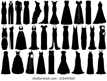 Set of dresses isolated on white