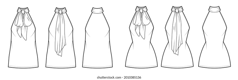 Set of Dresses neck bow technical fashion illustration with high halter neckline, oversized fitted body, mini length pencil skirt. Flat apparel front, back, white color style. Women, unisex CAD mockup