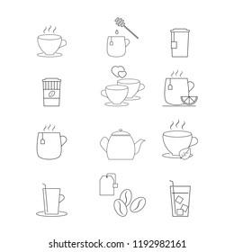 Set of drink coffee or tea icons
