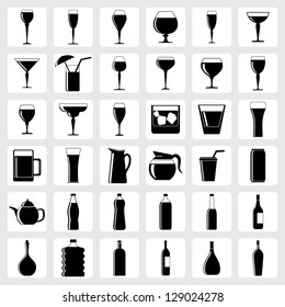 set of drink glasses in the form of icons