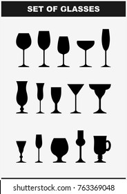 Set of drink glasses icons. Wine, cognac ,vermouth, punch, cocktail , martini glass . Silhouette. Vector illustration