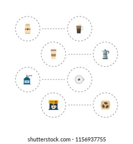 Set of drink icons flat style symbols with percolator, mocha grinder, cappuccino to go and other icons for your web mobile app logo design.