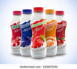 Set of drink nonfat yogurt bottle with fruit and berry flavor, including strawberry, blueberry, cranberry, cherry and apricot taste commercial vector advertising mock-up