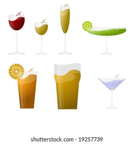 Set of drinking glasses on white background