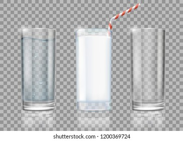 Set of drinks glasses with milk, water and empty. Templates isolated on transparent background. Stock vector illustration.