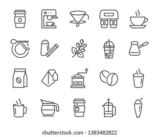 set of drinks icons, such as tea, drinks, cocoa, cup, cafe, coffee