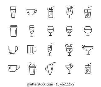 set of drinks icons, water, soft drink, alcohol, juice, glass, milk shake
