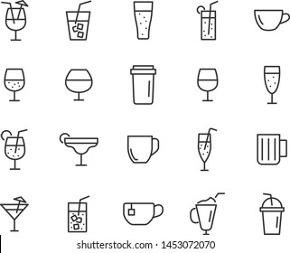 set of drinks line icons, such as glass, pub