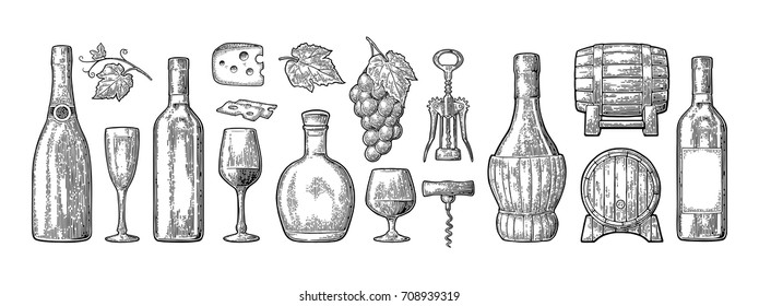 Set drinks made from grapes. Wine, brandy, champagne bottle, glass, barrel, cheese, barrel, bunch of grapes with berry and leaf. Vintage black engraving vector illustration isolated white background
