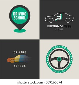 Set of driving school vector logo. Map pointer, car driving on the street graphic design elements