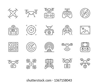 Set of Drone Line Icons. Fast Delivery, Remote Controller, Propeller, City Maps Navigation, Action Camera, Radar Screen, Radio Antenna and more. Pack of 48x48 Pixel Icons