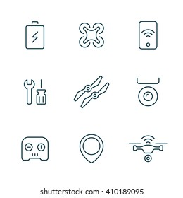 Set of Drone line icons. Quadrocopter icons.