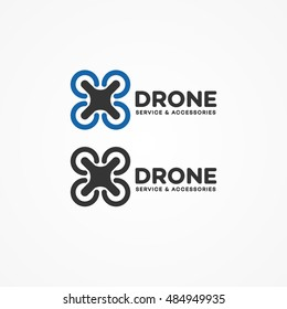 Set of drone logo isolated on white background. Set of drone service and accessories labels, badges and design elements. Vector Illustration