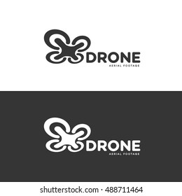 Set of drone logo isolated on white and black background. Set of drone service and accessories labels, badges and design elements. Vector Illustration