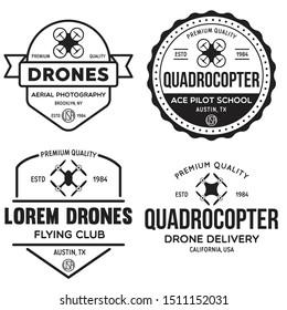 Set of drone logos, badges, emblems and design elements. Quadrocopter flying club, delivery logotypes. Vintage vector illustration.